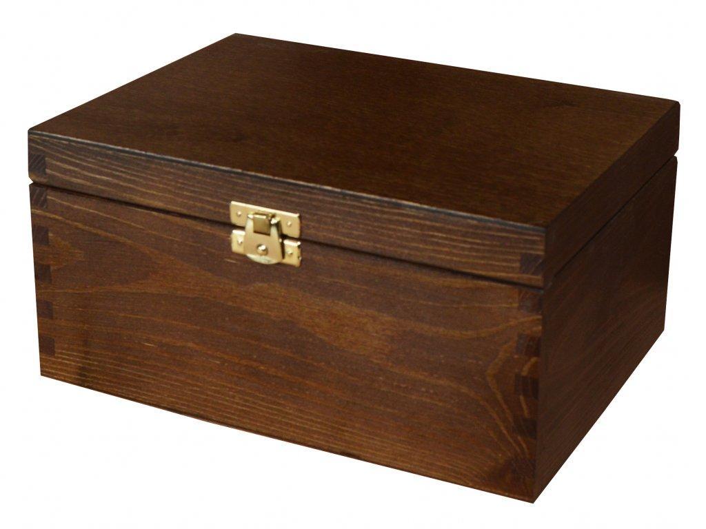 Dřevěná krabička s víkem a zapínáním - 22 x 16 x 13,5 cm, nátěr tmavě hnědý