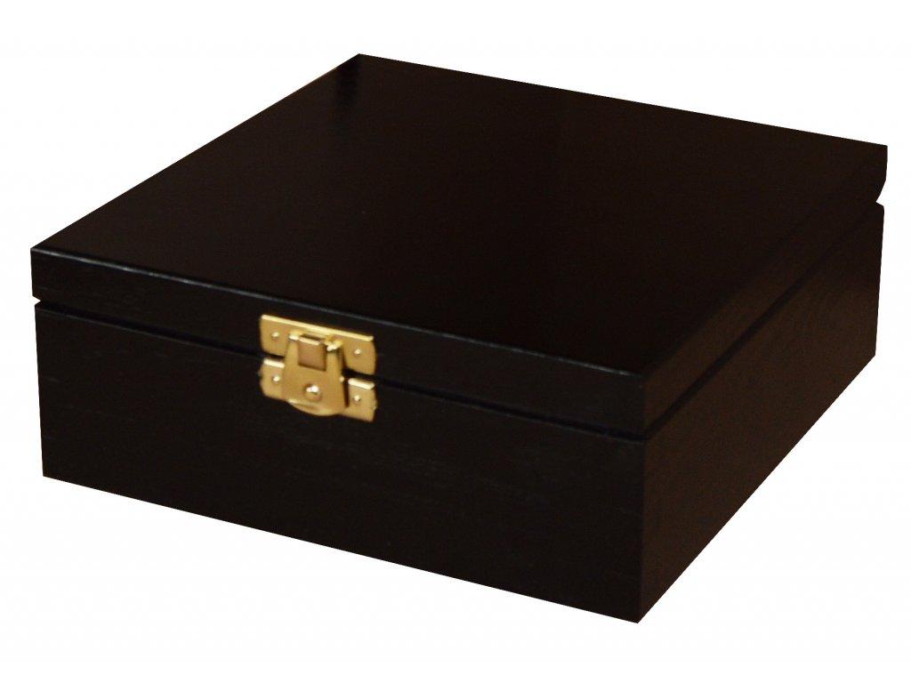Dřevěná krabička s víkem a zapínáním 16 x 16 x 6 cm, černý nátěr