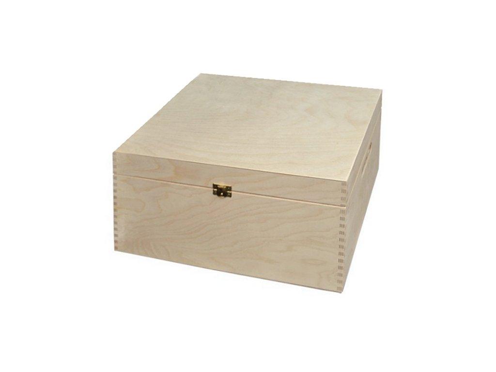 Dřevěná truhla - bedýnka na hračky se zapínáním 37,5 x 33 x 19 cm