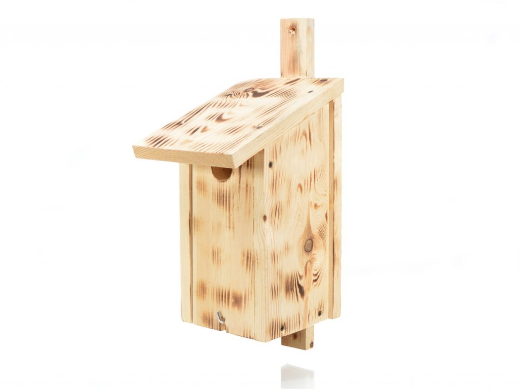 Dřevěná ptačí budka z přírodního opalovaného dřeva