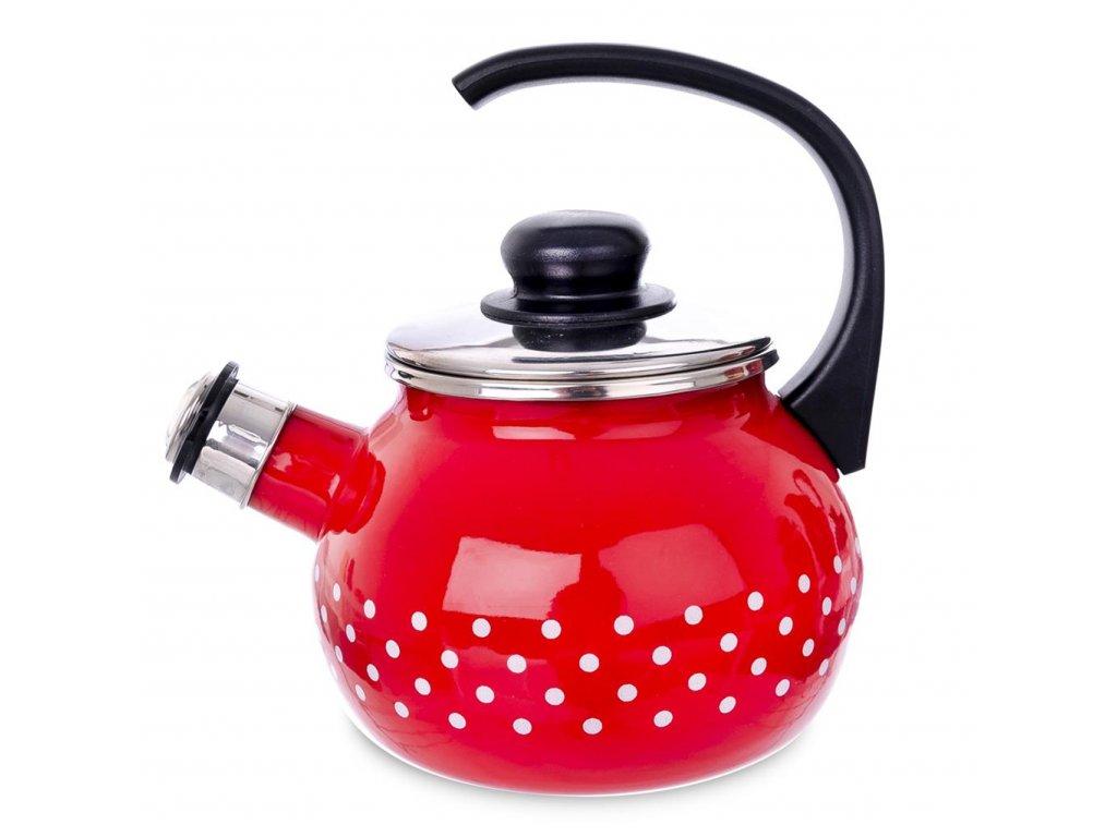 Čajník - konvička smalt s píšťalkou 1,75 l
