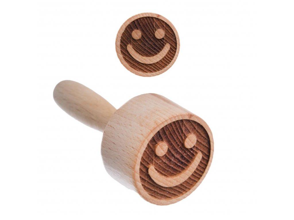Razítko na těsto smajlík ze dřeva