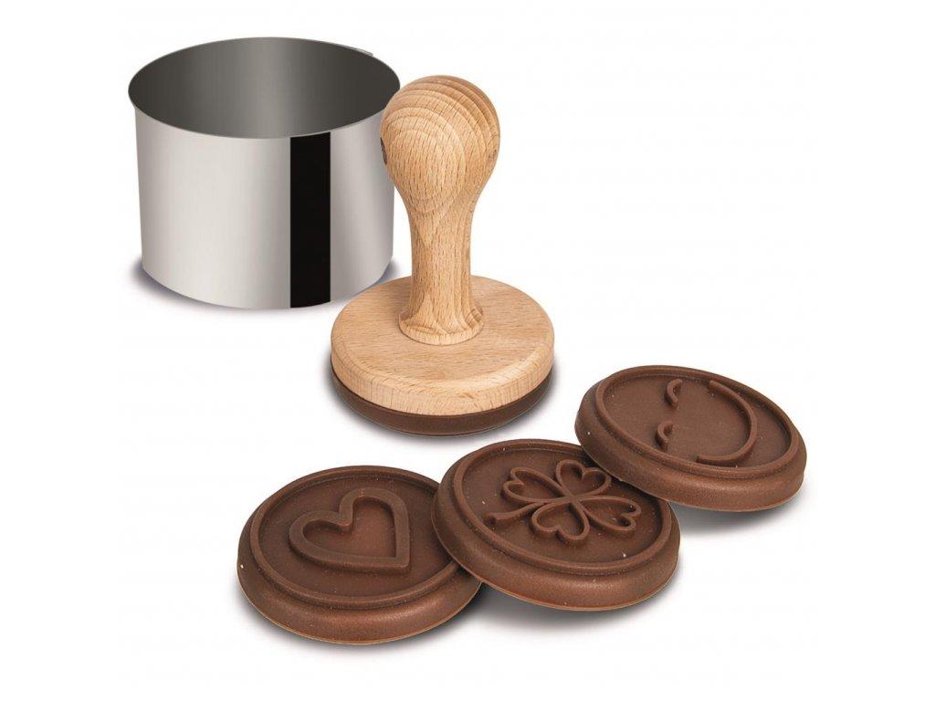 Razítko na těsto ze silikonu a dřeva s kulatou formičkou