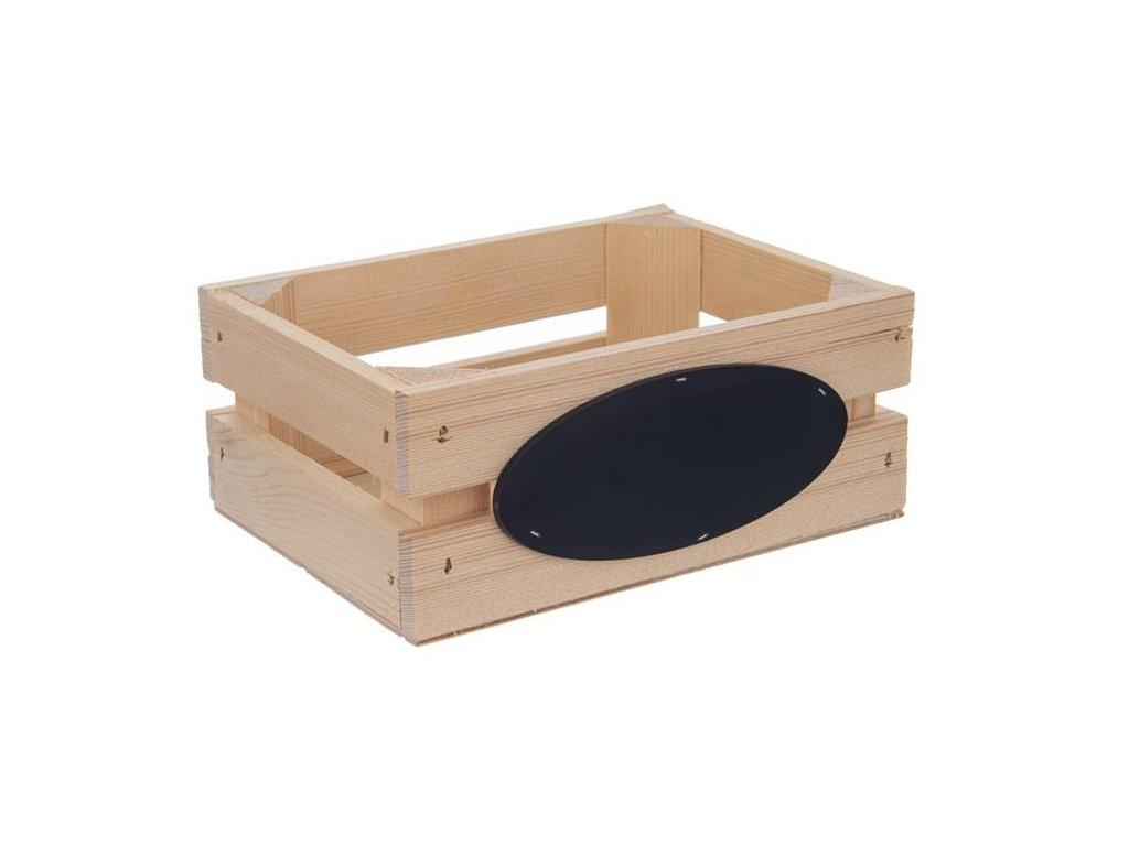 Dřevěná bedýnka s popisovatelnou tabulkou 20 x 14,5 x 8 cm
