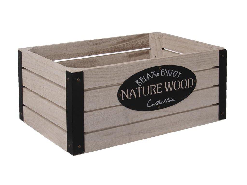 Dřevěná bedýnka RUSTIC s kovovými rohy - 26 x 16 x 11 cm