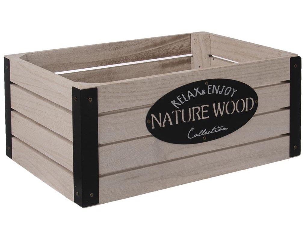 Dřevěná bedýnka RUSTIC s kovovými rohy - 31 x 21 x 13 cm