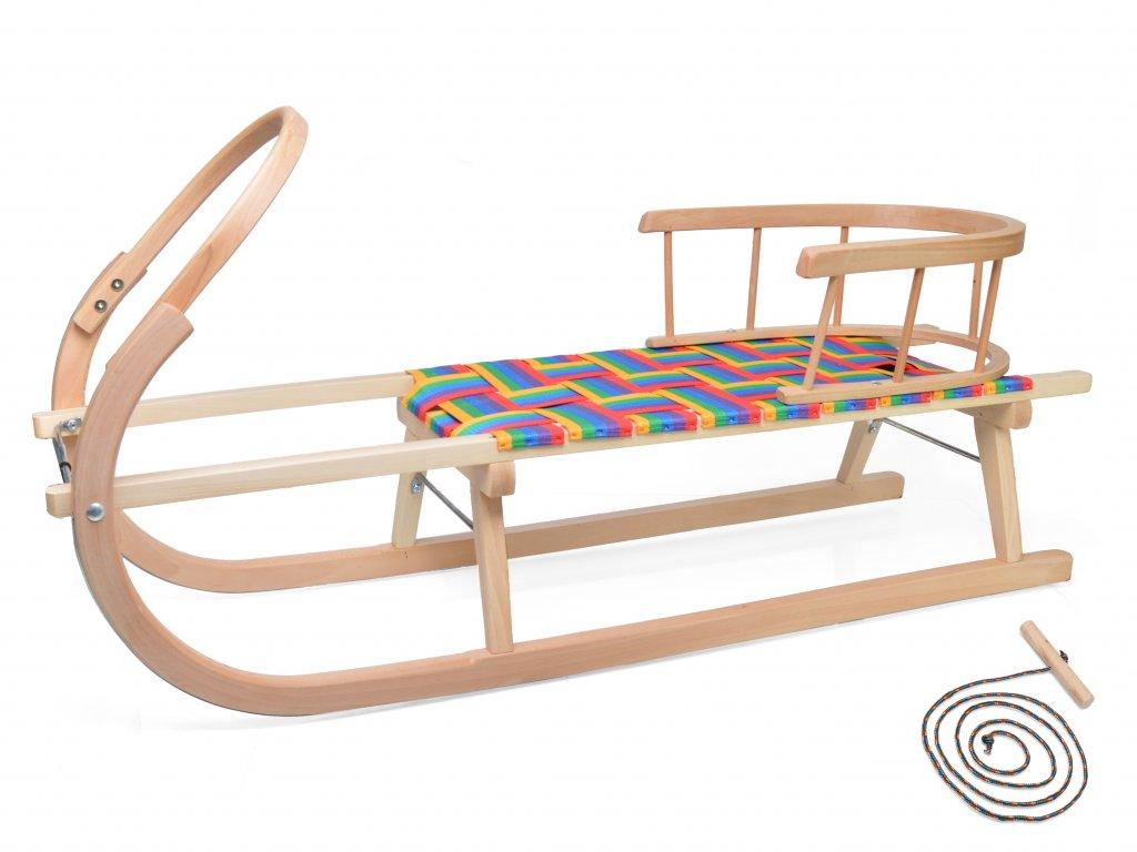 Dřevěné sportovní dětské sáňky s barevným průpletem a opěradlem