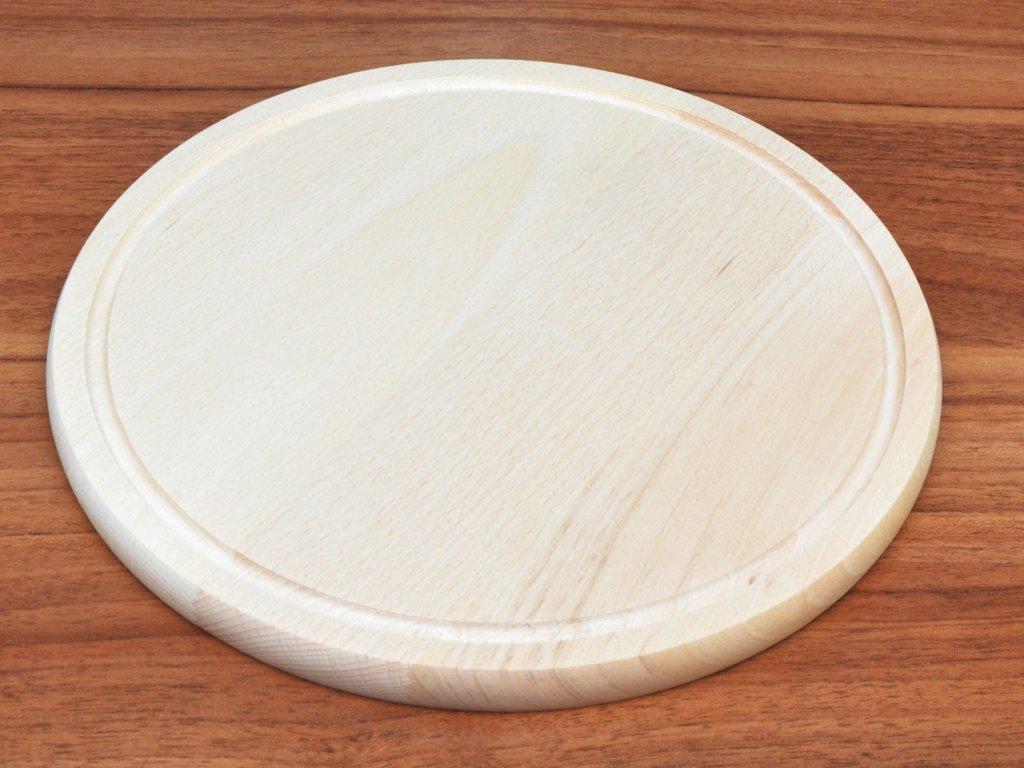 Bukové prkénko kulaté se žlábkem - průměr: 25 cm