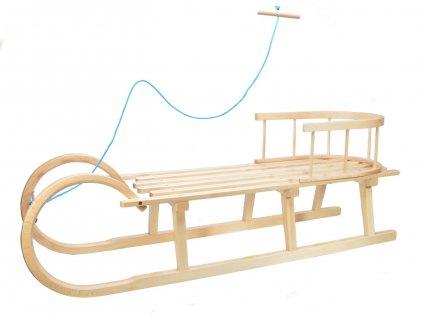Dřevěné dětské sáňky s ohrádkou - celodřevěné