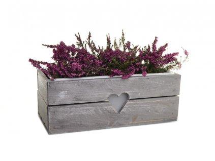 Dřevěný truhlík na květiny šedý - 40 cm
