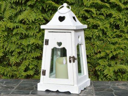 Dřevěná lucerna Claire, bílá - 36 cm
