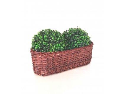 Proutěný truhlík na květiny - 40 cm, vystlaný folií
