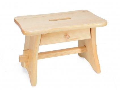 Dřevěná stolička s šuplíkem