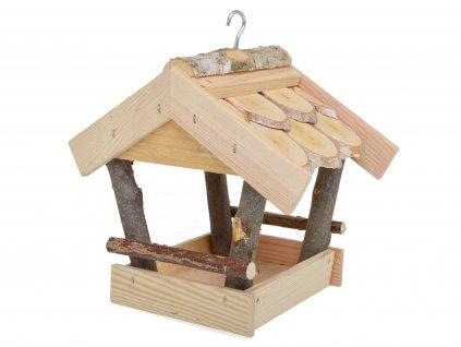 Dřevěné ptačí krmítko pro malé ptáčky s úchytem pro snadné zavěšení