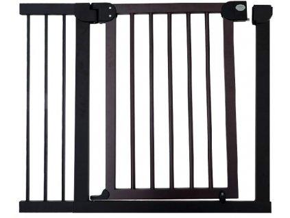 Dětská zábrana 97-104 cm - tmavé dřevo a kovový rám