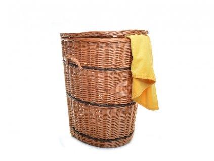 Proutěný koš na prádlo ke zdi s proužkem - v. 62 cm