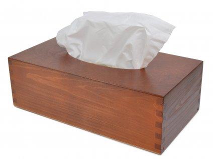 Dřevěná krabička na papírové kapesníky, barva ořech s výsuvným dnem