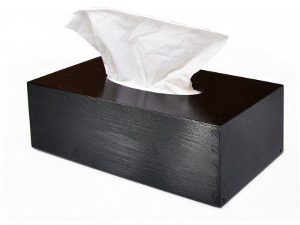 Dřevěná krabička na papírové kapesníky, černá s výsuvným dnem