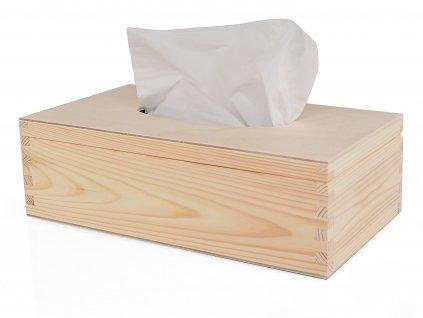 Dřevěná krabička na papírové kapesníky s panty