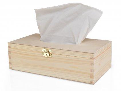 Dřevěná krabička na papírové kapesníky s panty a zapínáním