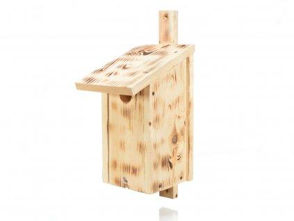 Dřevěná ptačí budka přírodní - opalovaná