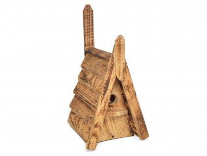 Dřevěná ptačí budka ve tvaru A