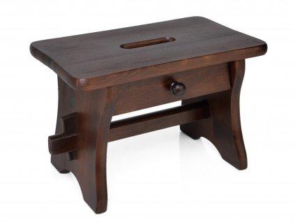 Dřevěná stolička se šuplíkem, nátěr ořech