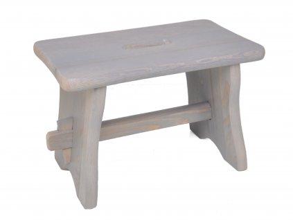 Dřevěná stolička - štokrle nátěr šedá patina
