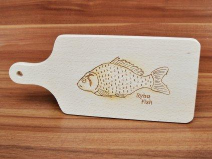 Bukové prkénko S RYBOU, pro rybáře - 32 x 14 cm