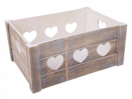 Dřevěná bedýnka se srdíčky 31 x 21 x 14 cm - šedá patina
