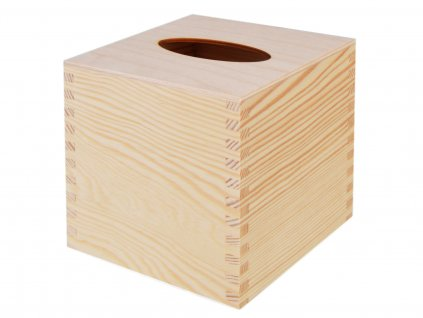 Dřevěná krabička na papírové kapesníky, čtvercová s výsuvným dnem