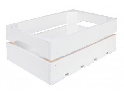 Dřevěná bedýnka 31 x 22 x 12 cm - bílá
