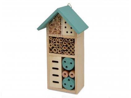 Domeček pro hmyz - hmyzí hotel, tyrkysový - 26 x 13 cm