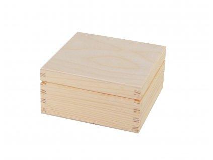 Dřevěná krabička s víkem - 12,5 x 12,5 x 6 cm