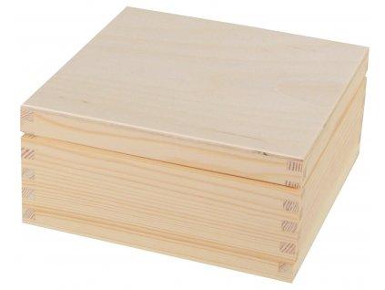 Dřevěná krabička s víkem - 19 x 19 x 9 cm