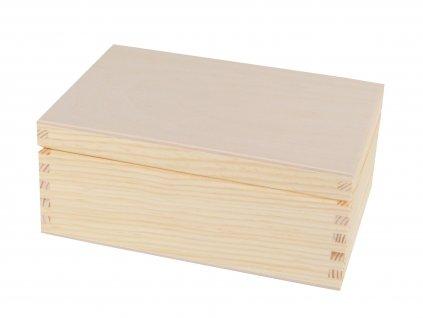 Dřevěná krabička s víkem - 19,5 x 14 x 8 cm
