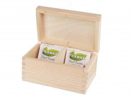 Dřevěná krabička na čaj s dvěma přihrádkami