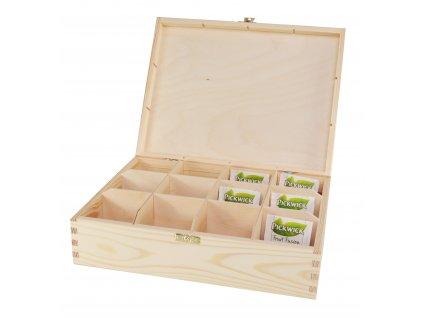 Dřevěná krabička na čaj s dvanácti přihrádkami a zapínáním II.