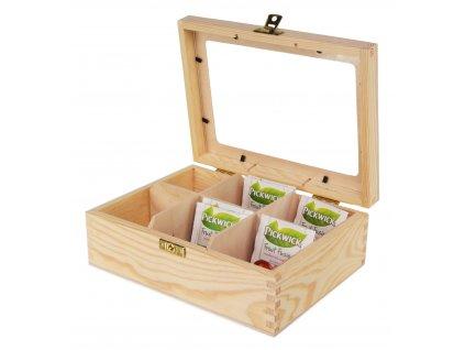 Dřevěná krabička na čaj s plexisklem s šesti přihrádkami a zapínáním II.