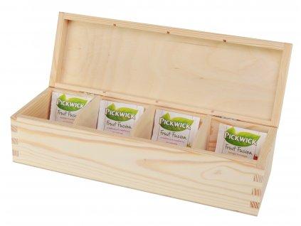 Dřevěná krabička na čaj s čtyřmi přihrádkami - podlouhlá