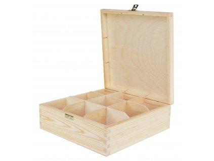 Dřevěná krabička na čaj s devíti přihrádkami a zapínáním