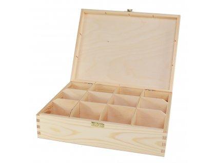 Dřevěná krabička na čaj s dvanácti přihrádkami a zapínáním