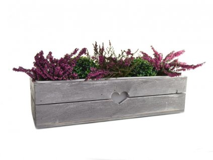 Dřevěný truhlík na květiny šedý - 60 cm