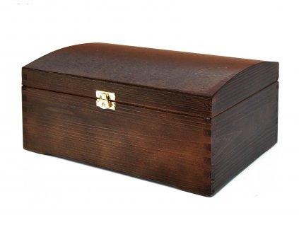 Dřevěná truhla na šperky, 20 x 30 cm, tmavě hnědý nátěr