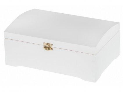 Dřevěná truhla na šperky, 20 x 30 cm, nátěr bílý