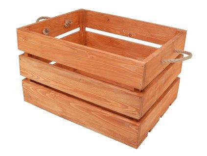 Dřevěná bedýnka s provazy 50x39x30 cm - olše