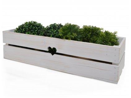 Dřevěný truhlík na květiny bílý - 63 cm II.