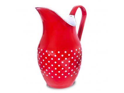 Džbán smaltový 2,5l - Bílá tečka na červeném