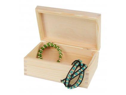 Dřevěná krabička s víkem nejen na šperky - 22 x 16 x 8 cm, přírodní