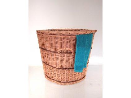 Proutěný koš na prádlo rohový s proužkem - v. 52 cm